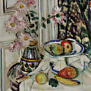 Still Life With Daisies And Fruit Art Print