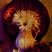 Still Life With Daisies And Grapes - Oil Painting Edition Art Print
