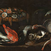 Still Life With Fish And Oysters  Art Print