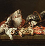 Still Life With Fishes, A Crab And Oysters Art Print