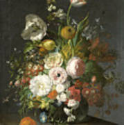 Still Life With Flowers In A Glass Vase Art Print