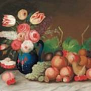 Still Life With Fruit And Flowers Art Print by William Buelow Gould
