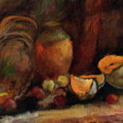 Still Life With Fruits And Pumpkin Art Print