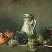Still Life With Grapes And Pomegranates Art Print by Jean-Baptiste Simeon Chardin
