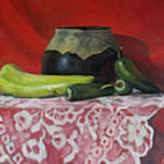 Still Life With Green Peppers Art Print