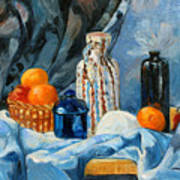 Still Life With Jugs And Oranges Art Print