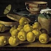 Still Life With Lemons And A Pot Of Honey Art Print