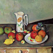 Still Life With Milkjug And Fruit Art Print by Paul Cezanne