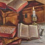Still Life With Old Books Art Print