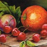 Still Life With Peaches And Cherries  Art Print