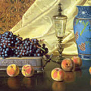 Still Life With Peaches Print by Edward Chalmers Leavitt