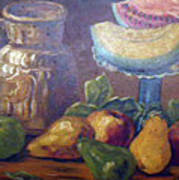 Still Life With Pears And Melons Print by Hilda Schreiber