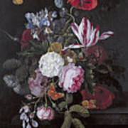 Still Life With Peonies Roses Irises Poppies And A Tulip With Butterflies A Dragonfly And Other Inse Art Print