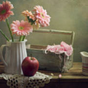 Still Life With Pink Gerberas And Red Apple Art Print