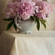 Still Life With Pink Peonies Art Print