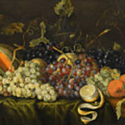 Still Life With Red Black And Green Grapes Art Print