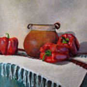 Still Life With Red Peppers Art Print
