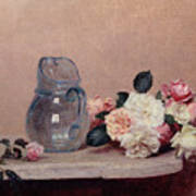Still Life With Roses Art Print by Ignace Henri Jean Fantin-Latour