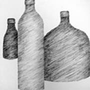 Still Life With Three Bottles Art Print