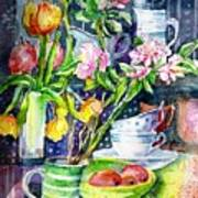 Still Life With Tulips And Apple Blossoms  Art Print