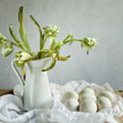 Still Life With Tulips And Eggs Art Print