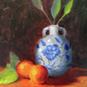 Still Life With Vase And Fruit Art Print