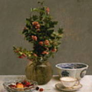 Still Life With Vase Of Hawthorn, Bowl Of Cherries, Japanese Bowl, And Cup And Saucer 1872 Art Print