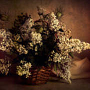 Still Life With White Flowers In The Basket Art Print