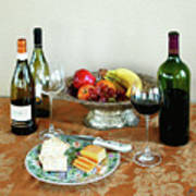 Still Life With Wine And Fruit Cheese Picture Interior Design Decor Art Print by John Samsen