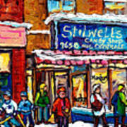 Stilwell's Candy Shop Montreal Memories Lasalle Verdun Winter City Scene Hockey Art Carole Spandau   Art Print