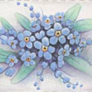 Stitched Forget-me-nots Art Print