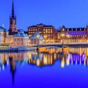 Stockholm Blue Hour Postcard Art Print