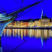 Stockholm Old City Blue Hour Serenity Art Print