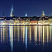 Stockholm Old City Magic Quartet Reflection In The Baltic Sea Art Print