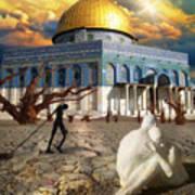 Stolen Light-dome Of The Rock Temple Mount Art Print