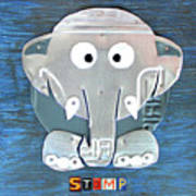 Stomp The Elephant Recycled License Plate Animal Art Art Print