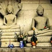 Stone And Flowers - Buddhist Shrine Art Print