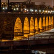 Stone Arch Bridge Night Shot Art Print