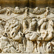 Stone Carving On Mausoleum Of The Julii Art Print