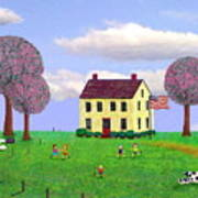Stone House In Spring Art Print