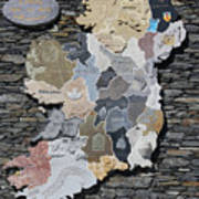 Stone Map Of Ireland Art Print