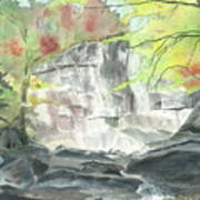 Stone Mountain Falls - The Upper Cascade - IIi - Autumn Art Print
