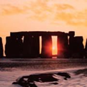 Stonehenge Winter Solstice Art Print by English School