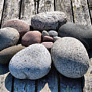 Stones And Old Wood 3  Art Print