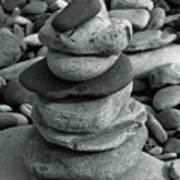 Stones Still Life Monochrome Art Print