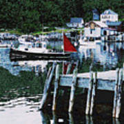 Stonington Harbor With Pier Maine Coast Art Print