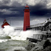 Storm At The Grand Haven Lighthouse Art Print