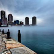 Storm Clouds And Fog Approaching Downtown Boston Massachusetts.  Art Print