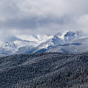 Storm Clouds Receding And Fresh Snow On Pikes Peak Art Print