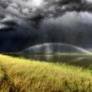 Storm Clouds And Rainbow Over Chaplin Lake Marshes Art Print